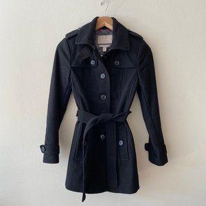 Banana Republic Black Wool Trench Tie Waist Coat